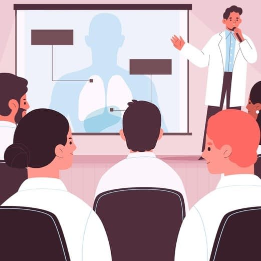 Conferencia de doctor con sistemas audiovisuales