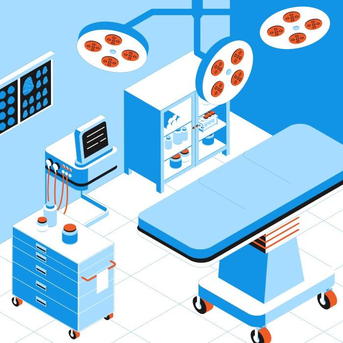 Ilustración de quirófano con sistemas audiovisuales